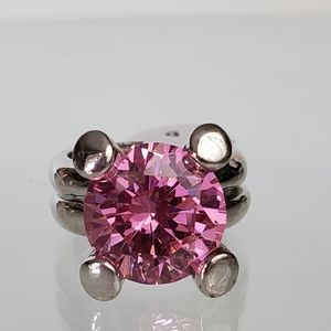 Large Silver Pink Cocktail Ring Size 6